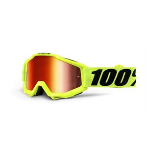 100% Accuri Fluorescent Yellow Enduro Brille - Rød Speil Linse
