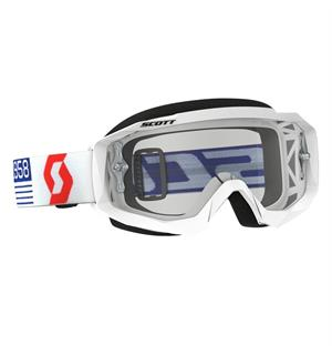 Scott Hustle MX Brille - Hvit/Rød Klar Works Linse